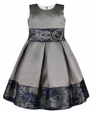 Нарядное серое платье для девочки с гипюром Цвет: серый