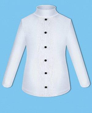 Школьная белая водолазка (блузка) для девочки с пуговками Цвет: белый