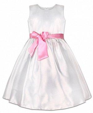 Белое нарядное платье для девочки Цвет: белый+роз.