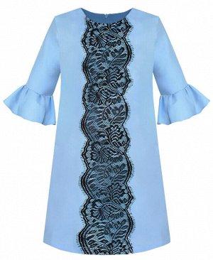 Голубое платье для девочки с воланами Цвет: Голубой