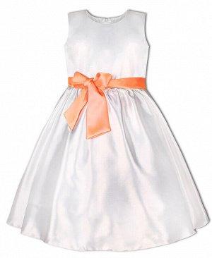 Белое нарядное платье для девочки Цвет: белый+оранж.