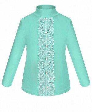 Школьная ментоловая водолазка (блузка) для девочки с гипюром Цвет: ментоловый