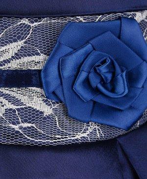 Нарядное тёмно-синее платье для девочки с белым гипюром Цвет: тёмно-синий