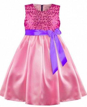 Розовое нарядное платье для девочки Цвет: фуксия