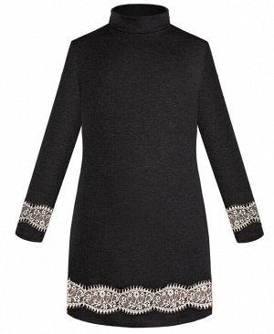 Платье для девочки тёмно-серого цвета с кружевом Цвет: темно серый