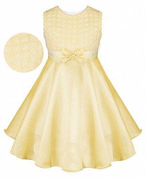 Желтое нарядное платье для девочки Цвет: шампань