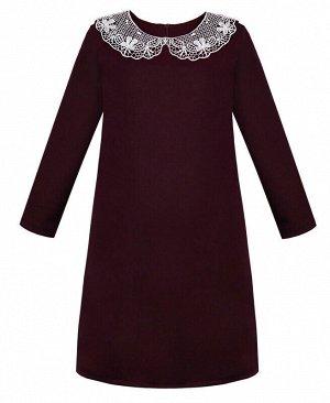 Бордовое школьное платье для девочки с кружевным воротником Цвет: Бордовый