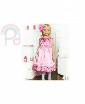 Розовое нарядное платье для девочки Цвет: розовый+цветок