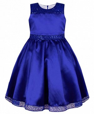 Нарядное синее платье для девочки с пайетками Цвет: синий
