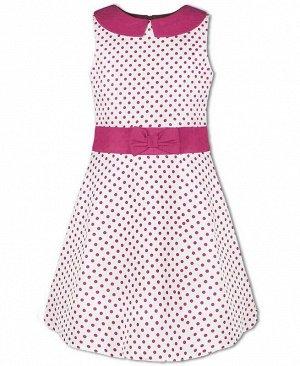 Нарядное платье в горошек для девочки Цвет: яр.розовый