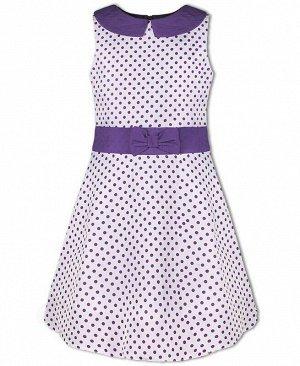 Нарядное платье в горошек для девочки Цвет: фиолет