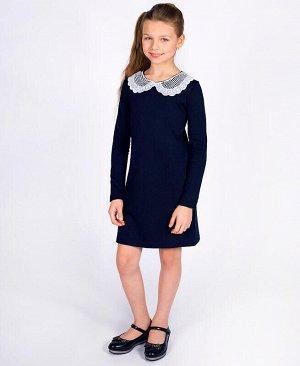 Синее школьное платье с кружевным воротником Цвет: синий