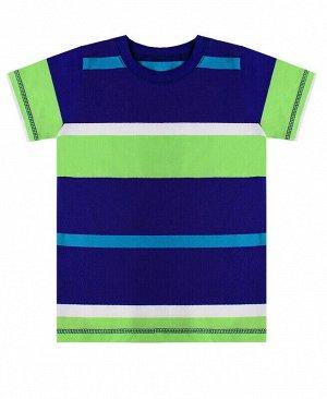 Футболка для мальчика в полоску Цвет: синий+бирюза