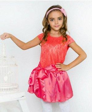 Нарядное коралловое платье для девочки Цвет: коралл
