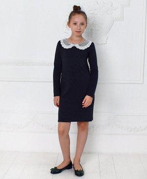 Серое школьное платье для девочки с кружевным воротником Цвет: серый