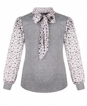 Серый школьный джемпер (блузка) для девочки с шифоном Цвет: серый