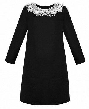 Чёрное школьное платье для девочки с кружевным воротником Цвет: черный