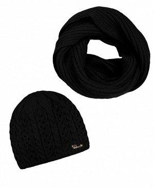 Комплект для девочки (шапка + снуд) Цвет: черный