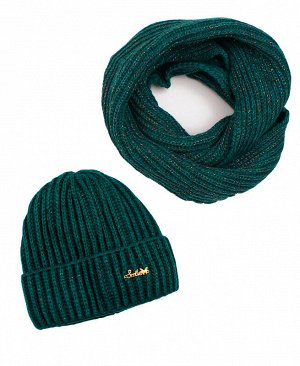 Комплект для девочки (шапка + снуд) Цвет: изумрудный