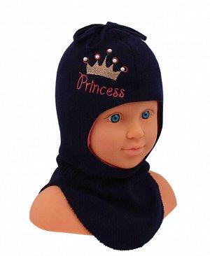 Шапка-шлем для девочки Цвет: синий