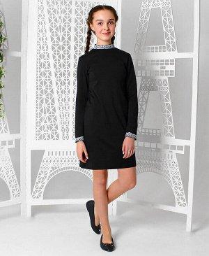 Черное школьное платье для девочки Цвет: черный