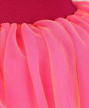 Нарядная розовая юбка из сетки для девочки Цвет: розовый