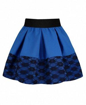 Синяя юбка для девочки с гипюром Цвет: светло-синий