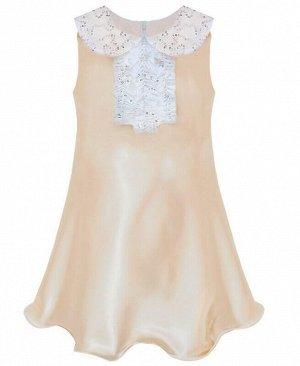 Бежевое нарядное платье для девочки Цвет: экрю+поед.
