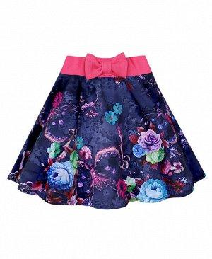 Летняя юбка для девочки в цветочек Цвет: синий