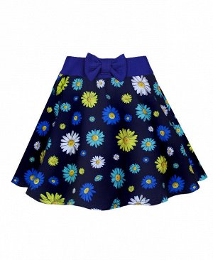 Летняя юбка для девочки в цветочек Цвет: тёмно-синий