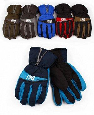 Перчатки для мальчика непромокаемые Цвет: черный+хаки