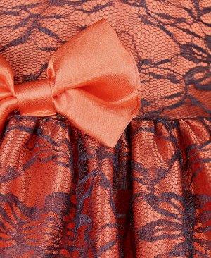Нарядное платье для девочки с гипюром Цвет: коралловый