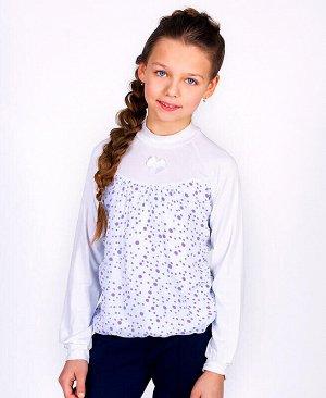 Белый школьный джемпер (блузка)/школа для девочки Цвет: белый