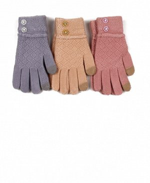 Перчатки детские для девочки,10-12 лет Цвет: голубой