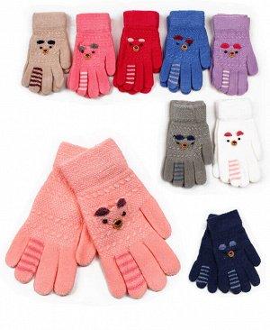 Перчатки детские для девочки, 4-6 лет Цвет: голубой