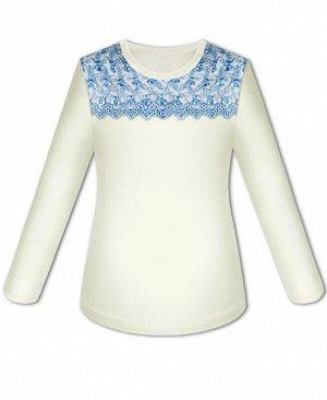 Молочная школьная блузка для девочки Цвет: голубой