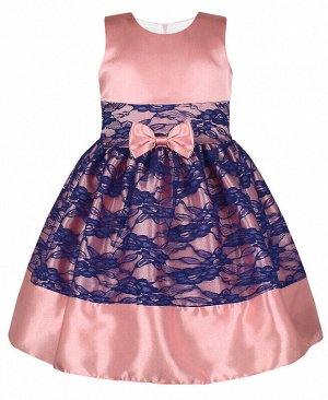 Нарядное платье для девочки с гипюром Цвет: темно-розовый