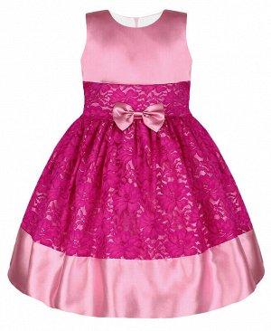 Нарядное платье для девочки с гипюром Цвет: тёмно-пурпурный