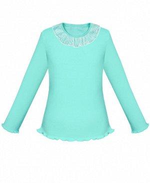 Бирюзовый школьный джемпер (блузка) для девочки Цвет: ментол
