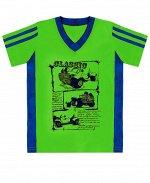 Салатовая футболка для мальчика Цвет: салат+синий