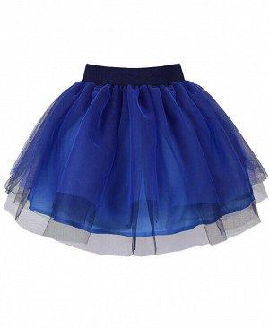 Нарядная синяя юбка из сетки для девочки Цвет: синий