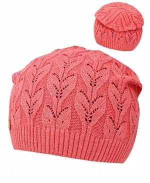 Коралловая шапка для девочки Цвет: коралловый