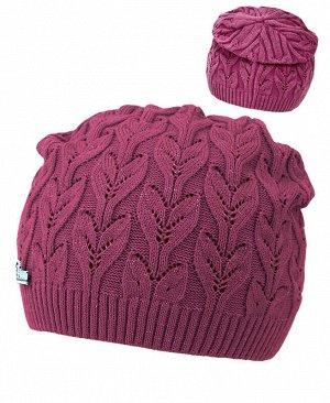 Вязаная шапка для девочки Цвет: пурпурный