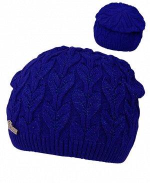 Синяя шапка для девочки Цвет: синий