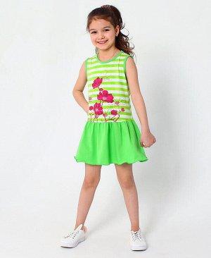 Сарафан для девочки в полоску Цвет: зелёный