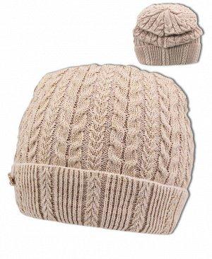 Бежевая шапка для девочки Цвет: бежевый