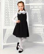 Школьный черный сарафан с кружевным воротничком Цвет: черный