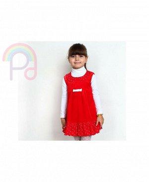 Красный сарафан для девочки из велюра Цвет: красный