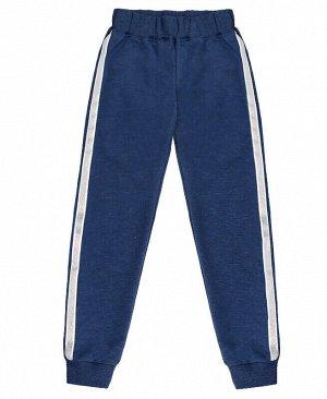 Спортивные брюки с лампасами для девочки,синий меланж Цвет: синий меланж