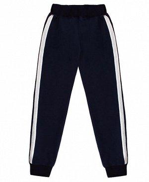 Синие спортивные брюки с лампасами для девочки Цвет: тёмно-синий